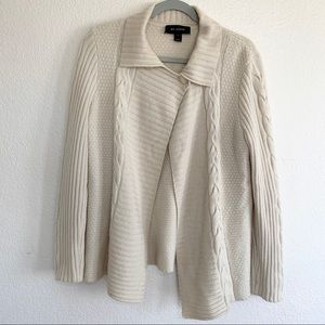 St. John Cream Cashmere Open Front Sweater